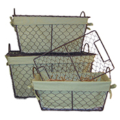 Wire Lidded Hamper with Green Lining