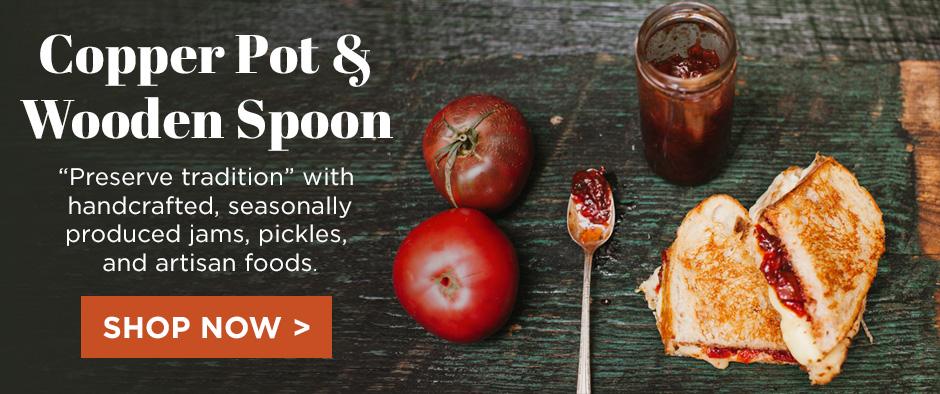 Copper Pot & Wooden Spoon Pickles & Preserves