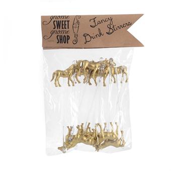 Golden Horse Cocktail Stirrers