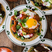 Huevos Rancheros with Pumpkin Seed Salsa