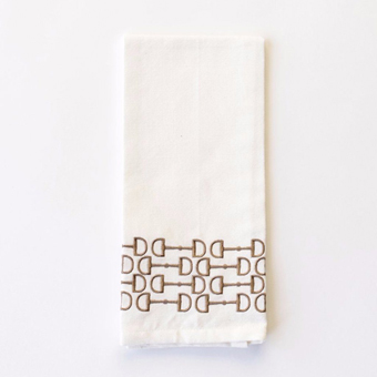 Brown Snaffle Embroidered Tea Towels (Set of 2)