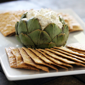 Stuffed Artichoke with Lemon Pesto Dip